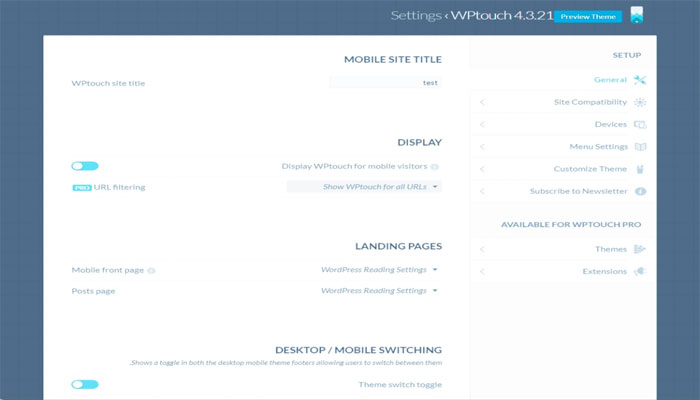 آموزش نصب و راه اندازی افزونه WPtouch